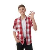 Muchacho lindo del adolescente sobre fondo aislado blanco Foto de archivo