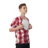 Muchacho lindo del adolescente sobre fondo aislado blanco Imagen de archivo