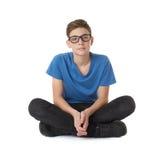 Muchacho lindo del adolescente sobre fondo aislado blanco Fotos de archivo
