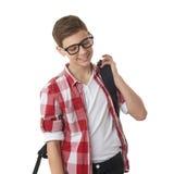 Muchacho lindo del adolescente sobre fondo aislado blanco Imágenes de archivo libres de regalías