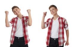 Muchacho lindo del adolescente sobre fondo aislado blanco Imagenes de archivo