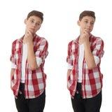 Muchacho lindo del adolescente sobre fondo aislado blanco Imagen de archivo libre de regalías