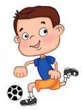 Muchacho lindo del niño que juega el ejemplo blanco de la historieta del fondo del ejemplo del fútbol ilustración del vector