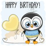 Muchacho lindo del pingüino con un globo ilustración del vector