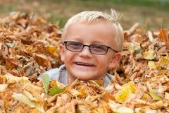 Muchacho lindo en hojas de otoño Imágenes de archivo libres de regalías