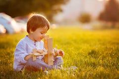 Muchacho lindo, jugando con el aeroplano en puesta del sol en el parque Imágenes de archivo libres de regalías