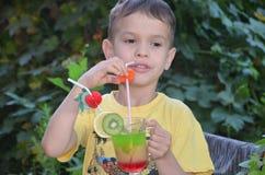 Muchacho lindo que bebe el smoothie sano del zumo de frutas del cóctel en verano Niño feliz que disfruta de la bebida orgánica fotos de archivo