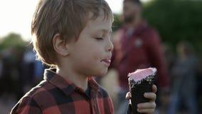 Muchacho lindo que come el helado rosado en cono en el parque público almacen de metraje de vídeo