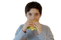 Muchacho lindo que come la hamburguesa Imagen de archivo libre de regalías