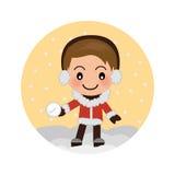 Muchacho lindo que juega la bola de nieve en la Navidad ilustración del vector