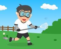 Muchacho lindo que juega LaCrosse en el parque libre illustration
