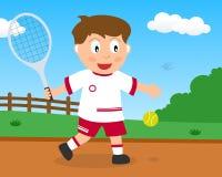 Muchacho lindo que juega a tenis en el parque libre illustration