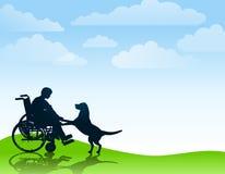 Muchacho lisiado que juega con su perro Imagen de archivo libre de regalías