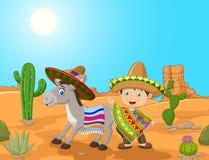 Muchacho mexicano de la historieta con el burro en el fondo del desierto Imagen de archivo libre de regalías