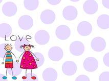 Muchacho + muchacha = amor (púrpura) Fotografía de archivo
