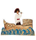 Muchacho negro en el traje del pirata en la nave de la cartulina imagen de archivo