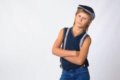 Muchacho o adolescente rubio lindo en casual de media longitud Fotos de archivo