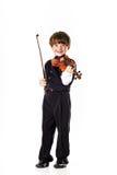 Muchacho pelirrojo del preescolar con el violín Foto de archivo libre de regalías