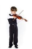 Muchacho pelirrojo del preescolar con el violín Fotografía de archivo libre de regalías