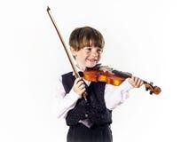 Muchacho pelirrojo del preescolar con el violín Imagen de archivo