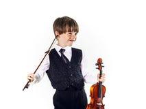 Muchacho pelirrojo del preescolar con el violín Fotos de archivo libres de regalías