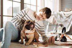 Muchacho positivo que mira a su compañero canino Imagenes de archivo