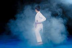 muchacho Pre-adolescente que hace karate en un fondo negro con humo Fotografía de archivo