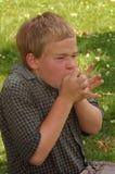 Muchacho que aprende soplar el silbido de la hierba Foto de archivo libre de regalías
