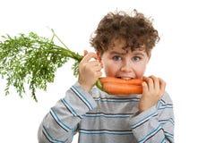 Muchacho que come la zanahoria fresca Fotografía de archivo libre de regalías