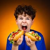 Muchacho que come los emparedados grandes Imagen de archivo