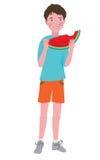 Muchacho que come un melón maduro Imagen de archivo