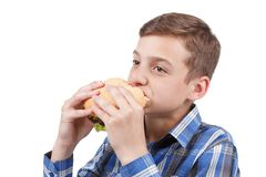 Muchacho que come una hamburguesa Fotografía de archivo