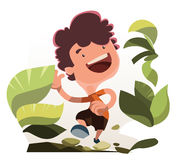 Muchacho que corre en personaje de dibujos animados del ejemplo de la naturaleza Imágenes de archivo libres de regalías