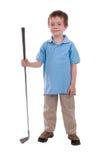 Muchacho que detiene a un club de golf Imagen de archivo libre de regalías
