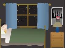 Muchacho que duerme en dormitorio en la noche cerca de ventana grande Imágenes de archivo libres de regalías