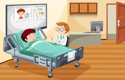 Muchacho que duerme en hospital stock de ilustración
