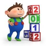 Muchacho que empila 2012 bloques del número stock de ilustración