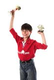 Muchacho que gana en la competición Imagenes de archivo