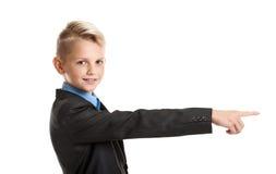 Muchacho que gesticula con el finger Imagenes de archivo