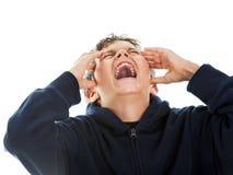 Muchacho que grita Imagen de archivo libre de regalías
