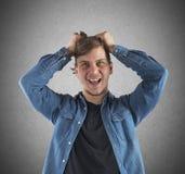 Muchacho que grita desesperadamente Fotografía de archivo libre de regalías