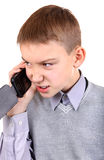 Muchacho que habla en el teléfono móvil Fotografía de archivo