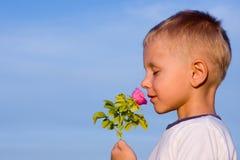 Muchacho que huele la flor color de rosa Imagenes de archivo