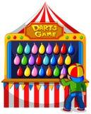 Muchacho que juega al juego de los dardos en el carnaval stock de ilustración
