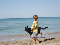 Muchacho que juega con el perro en la playa Fotos de archivo