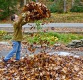 Muchacho que juega con las hojas de otoño Fotografía de archivo
