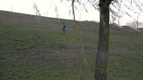Muchacho que juega con un avión del juguete en el parque en un día soleado almacen de metraje de vídeo