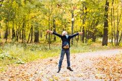 Muchacho que juega en parque del otoño Imágenes de archivo libres de regalías