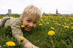 Muchacho que juega en prado Fotos de archivo