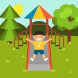 Muchacho que juega en un patio del parque público de la ciudad diapositivas Patio del ` s de los niños ejemplo común plano Bebé-t ilustración del vector